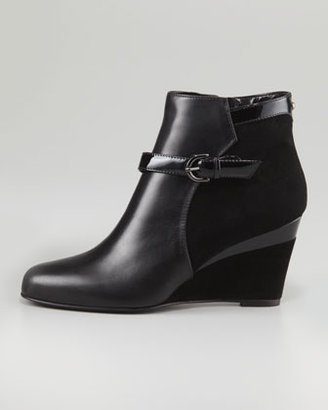 Aquatalia by Marvin K York Suede/Leather Wedge Bootie, Black