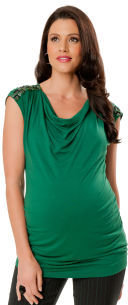 Motherhood Short Sleeve Drape Neck Embellished Maternity T Shirt
