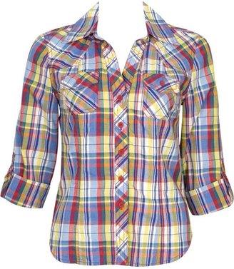 Forever 21 Rainbow Plaid Shirt