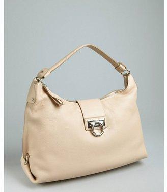 Salvatore Ferragamo new bisque grained leather gancio buckled shoulder bag