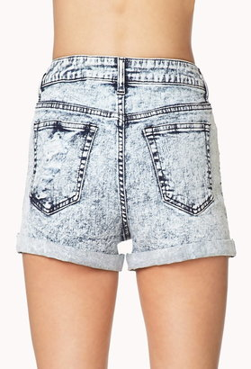 Forever 21 High Waist Bleach Wash Denim Shorts