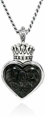 King Baby Carved Jet Heart with Silver Crown Pendant Necklace $601.13 thestylecure.com