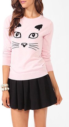 Forever 21 Feline Face Graphic Sweater