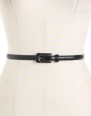 Lauren Ralph Lauren Embossed Croc-Effect Skinny Leather Belt