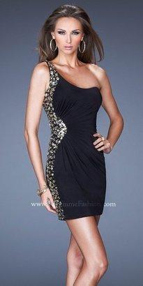 La Femme Black Embellished Side Radial Cocktail Dresses