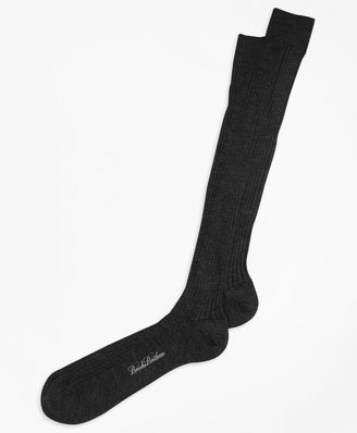 Brooks Brothers Merino Wool Ribbed Over-the-Calf Socks