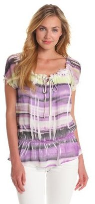 Amy Byer Women's Short Sleeve Sublimation Yoryu Top