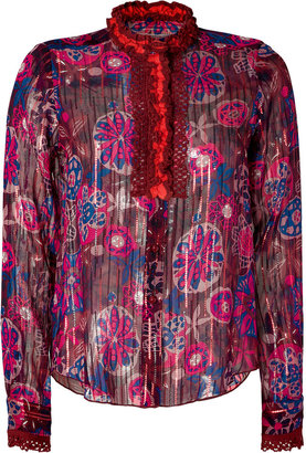 Anna Sui Hot Pink Lurex Silk Blouse