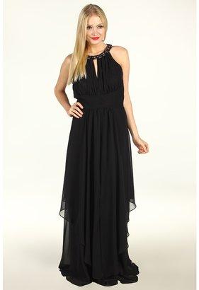 Eliza J Halter Neck Long Bridal Gown w/ Ruched Bodice Waist (Black) - Apparel