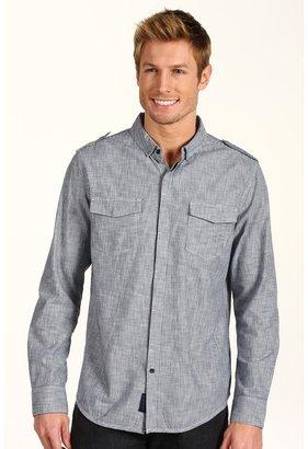 Calvin Klein Jeans L/S Woven Pinstripe Shirt w/ Pintuck Detailing (Dark Wash) - Apparel