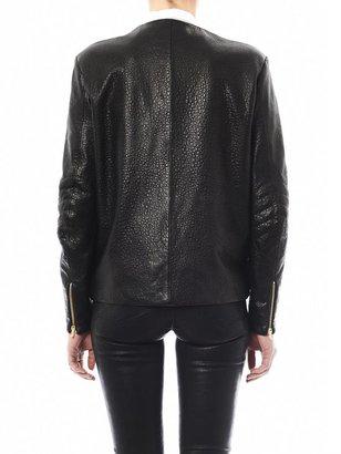 Preen By Thornton Bregazzi Bo leather and tartan biker jacket