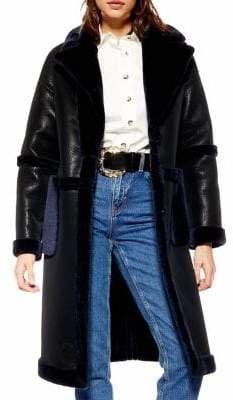 Topshop Kelso Faux Leather Faux Fur Trim Coat