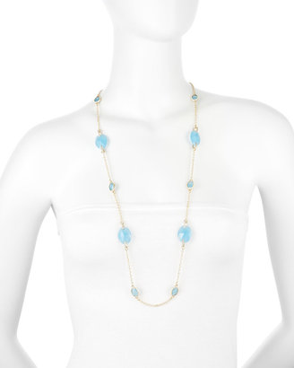 Fragments for Neiman Marcus Blue Facet Mixed-Station Necklace