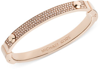 Michael Kors Rose Gold-Tone Pave Hinge Bangle Bracelet