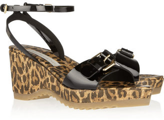 Stella McCartney Leopard-print faux patent-leather sandals