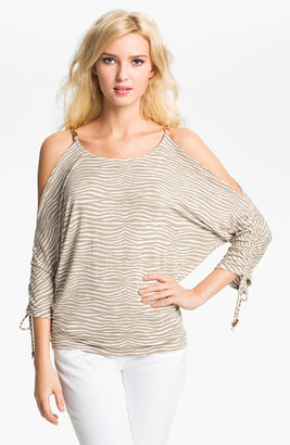 MICHAEL Michael Kors Zebra Print Cold Shoulder Top