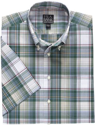 Jos. A. Bank Factory Madras Short Sleeve Sportshirt- Taupe/Red Plaid
