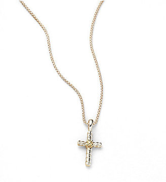 David Yurman Child's Sterling Silver & 18K Yellow Gold Cross Necklace