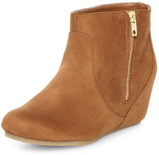 Dorothy Perkins Tan concealed wedge boots