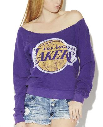 Wet Seal LA Lakers Off The Shoulder Sweatshirt
