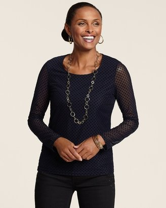 Chico's Flocked Dot Top