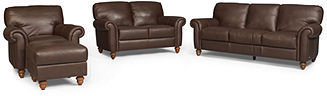 Umbria 4-Piece Leather Sofa Set: Sofa, Love Seat, Chair and Ottoman