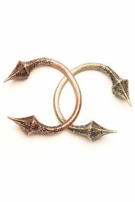 Luv Aj Carved Talon Bracelet in Brass Ox