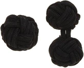 Barneys New York Knotted Silk Cufflinks-Black