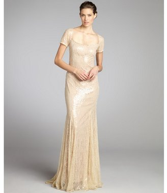 Badgley Mischka Champagne sequined lace portrait neck short sleeved gown