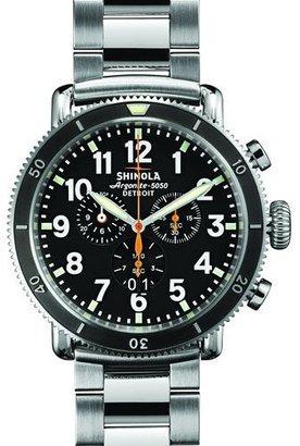 Shinola 48mm Runwell Sport Chrono Watch, Stainless Steel/Black $1,025 thestylecure.com