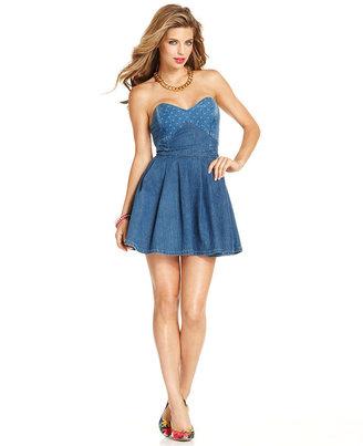GUESS Dress, Strapless Sweetheart Dot-Print Denim A-Line