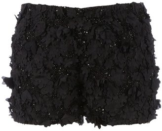 Gold Hawk appliqué floral shorts