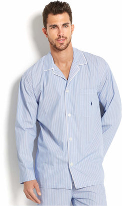 Polo Ralph Lauren Big and Tall Blue Andrew Stripe Men's Pajama Top $50 thestylecure.com