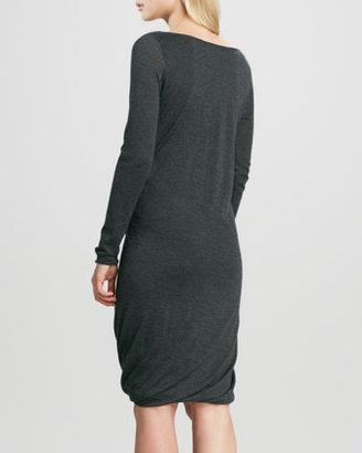 Donna Karan Double-Layer Draped Cashmere Dress, Charcoal