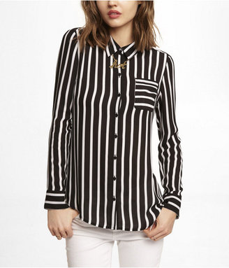 Express Striped One Pocket Button-Up Blouse