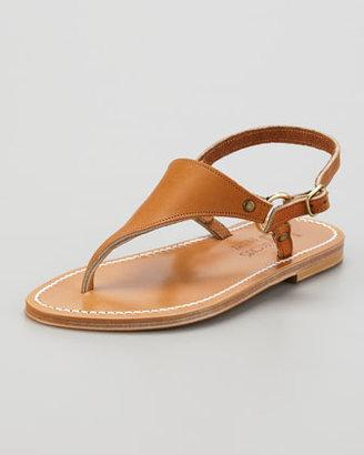 K. Jacques Triton Slingback Flat Thong Sandal, Natural