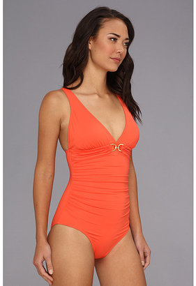 MICHAEL Michael Kors Linked Solids Shirred Maillot