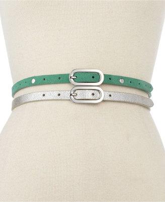 Steve Madden Belts, 2 for 1 Pastel and Metallic Skinny Belts