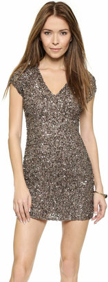 Parker Cluster Beaded V Neck Dress $396 thestylecure.com