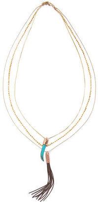 Rachel Roy Multi Row Tassel Charm Necklace