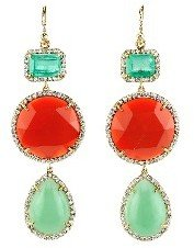 Irene Neuwirth Colombian Emerald, Fire Opal, and Mint Chrysoprase Drop Earrings - Yellow Gold