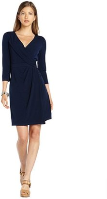 Ivy & Blu Ivy + Blu navy stretch woven 3/4 sleeve wrap sheath dress