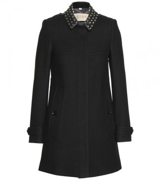 Burberry Leather-trimmed wool-blend jacket