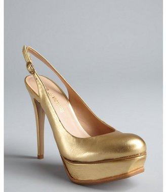 Pour La Victoire gold leather platform 'Velerie' slingbacks