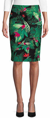 Lord & Taylor Tropical Leaf Pencil Skirt