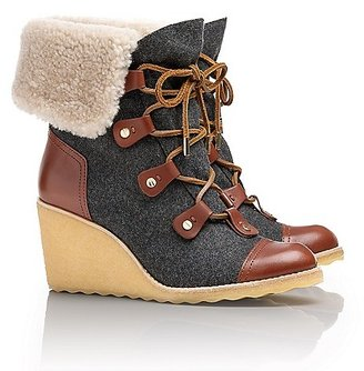 Tory Burch Marley Flannel Wedge Boot