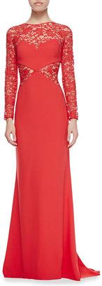 Paule Ka Long-Sleeve Lace-Netting & Crepe Gown