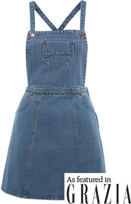 Miss Selfridge Mid wash denim pinafore dress