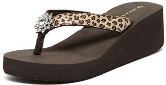 Dorothy Perkins Leopard Dunlop wedge flip flop