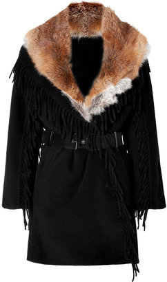Ermanno Scervino Black Fringed Wool Coat with Red Fox Fur Collar